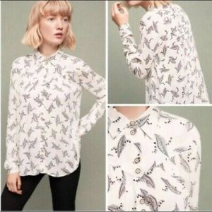 Anthropologie Maeve Feather Print Shirt. Size 4